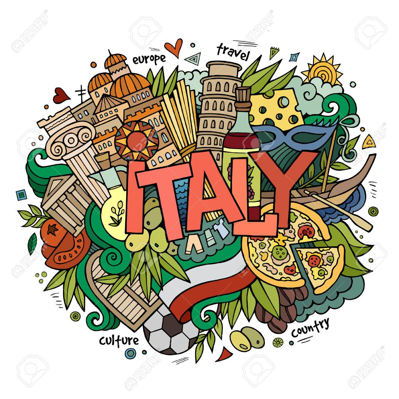 Italy hand lettering and doodles elements background. Vector illustration - 41825545