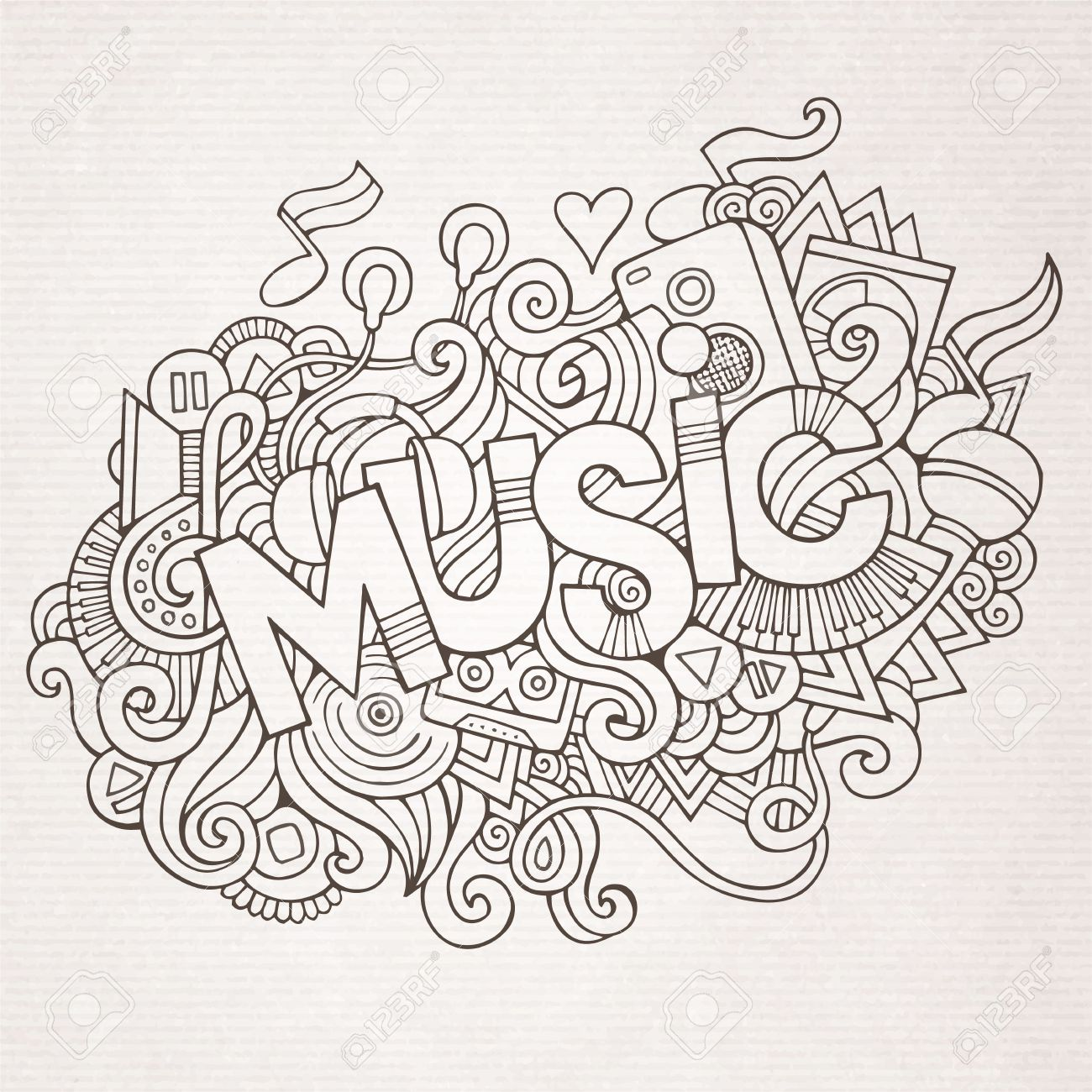 Stock vector music hand lettering and doodles elements - Music Hand Lettering And Doodles Elements And Symbols Background Vector Hand Drawn Sketchy Illustration Stock
