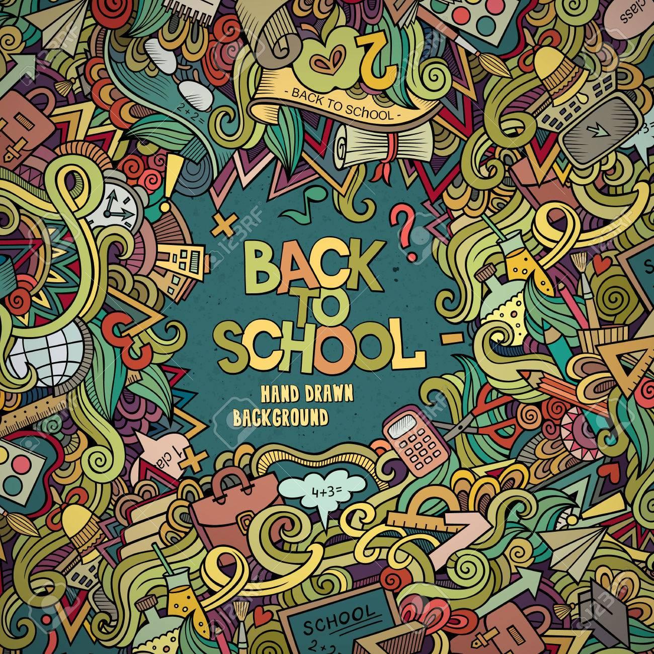 Cartoon vector doodles hand drawn school frame card design background - 42034249