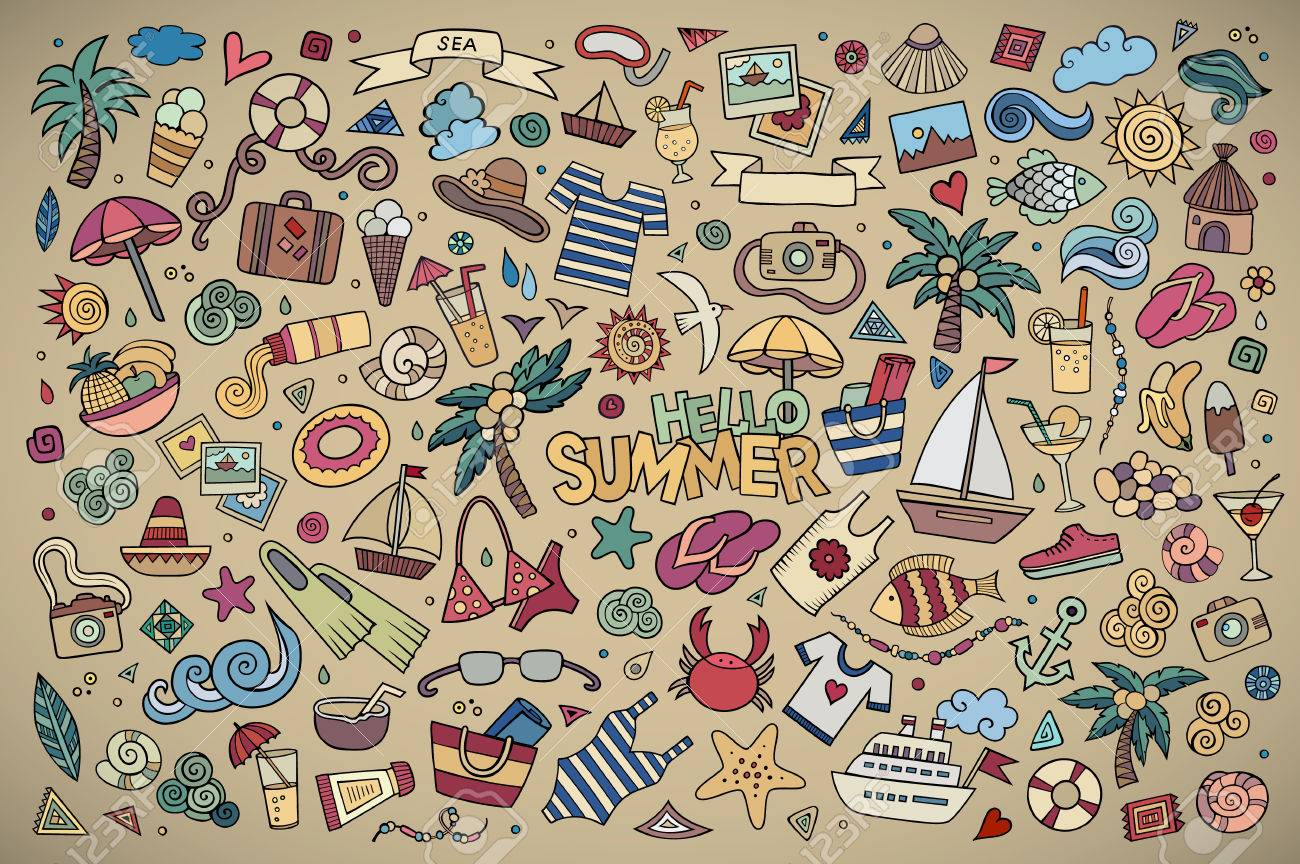 Summer beach hand drawn vector symbols and objects - 42034278