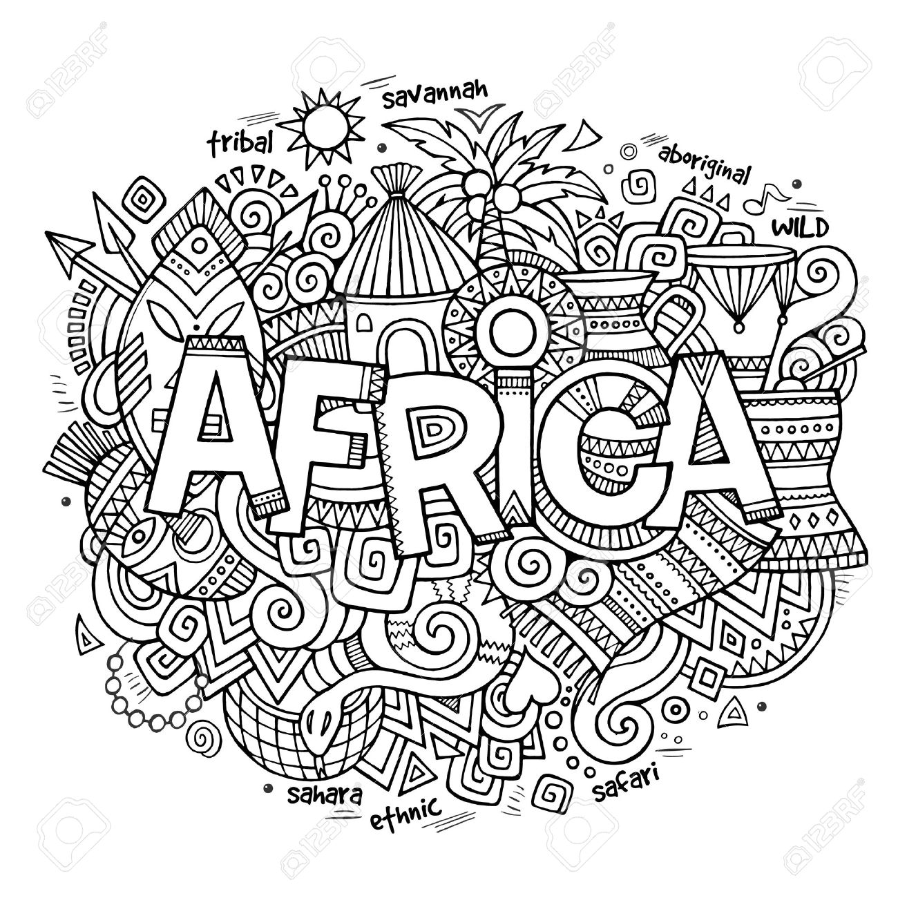 Africa Ethnic Hand Lettering And Doodles Elements And Symbols