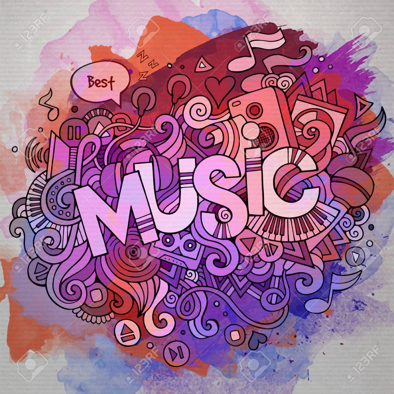 Music hand lettering and doodles elements and symbols emblem. Vector watercolor stains background - 42530935