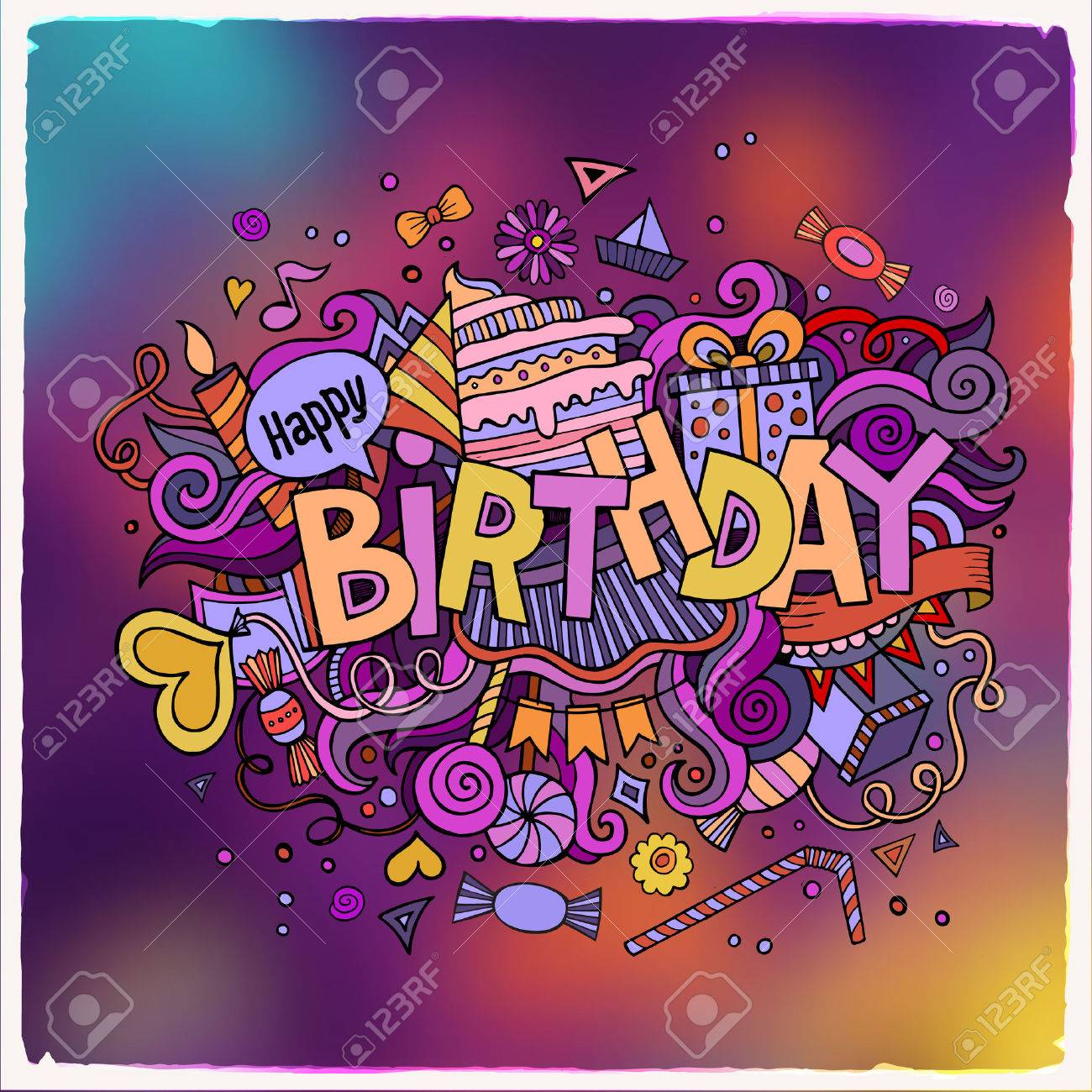 Birthday hand lettering and doodles elements background. Vector illustration - 42531034