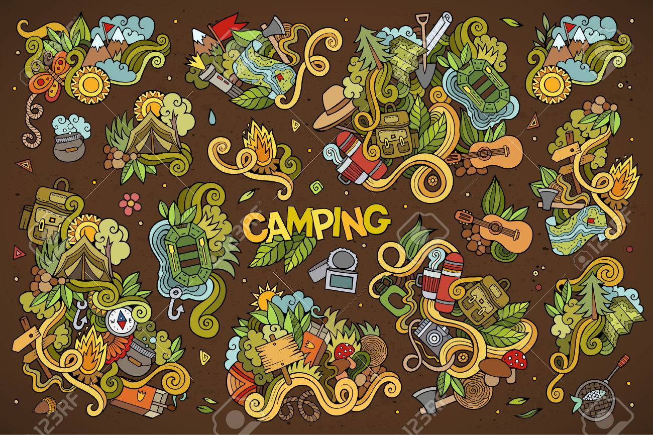 Camping doodles nature hand drawn vector symbols and objects - 42833616