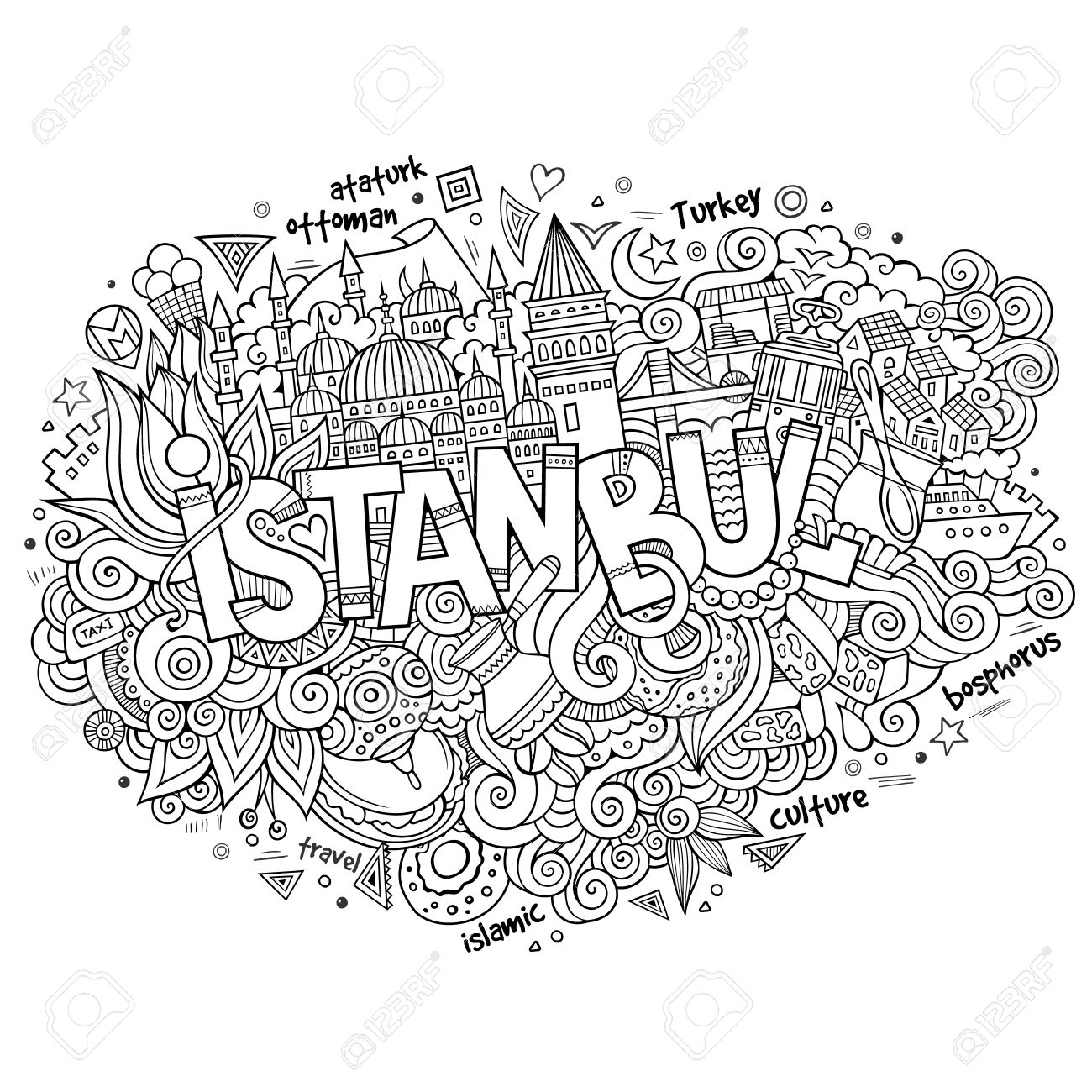 Istanbul City Hand Lettering And Doodles Elements And Symbols