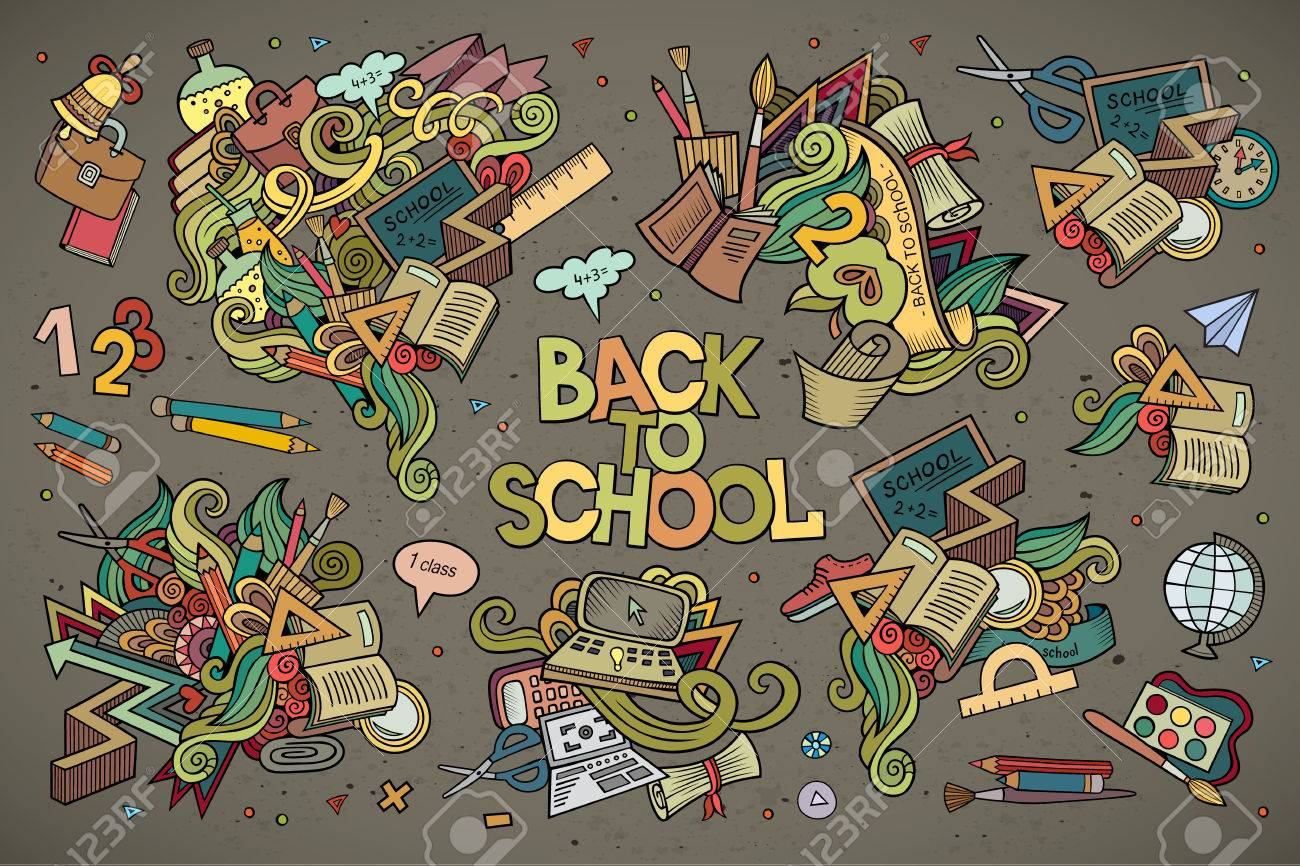 School and education doodles hand drawn vector symbols and objects - 42833661