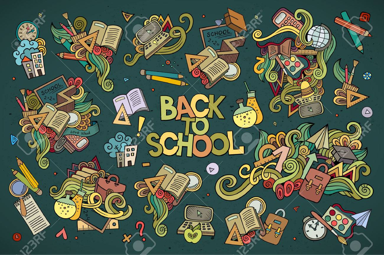 School and education doodles hand drawn vector symbols and objects - 42833668