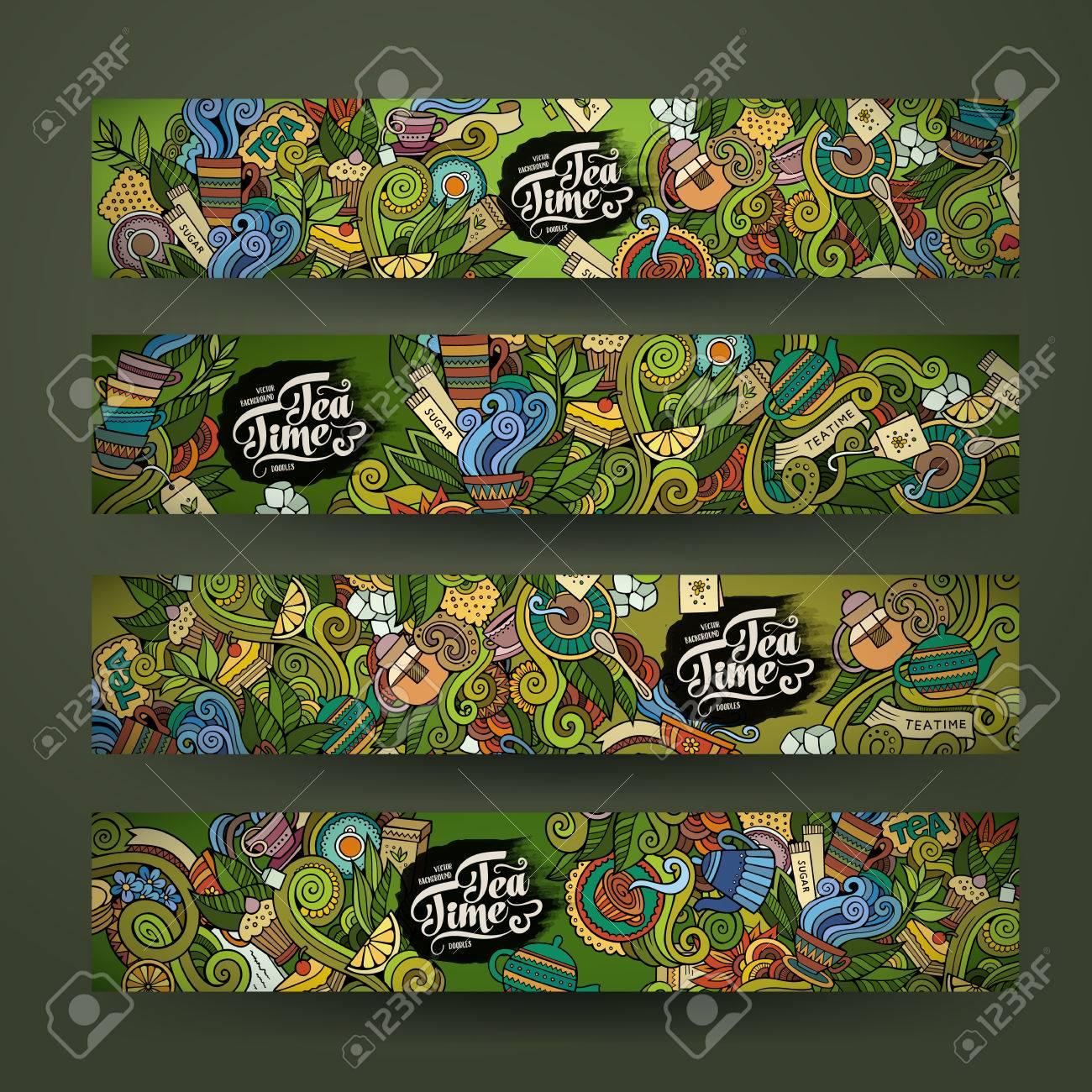 Vector doodles tea time design banner templates set - 42896551