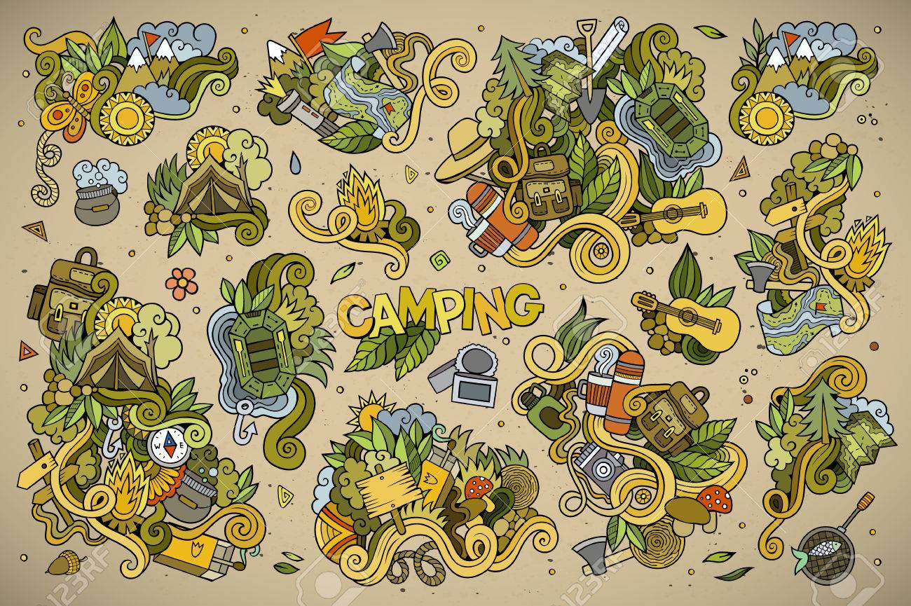 Camping doodles nature hand drawn symbols and objects - 43497287