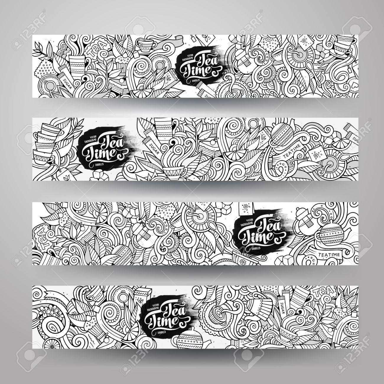 hand drawn sketchy doodles tea design banner templates set - 43497014