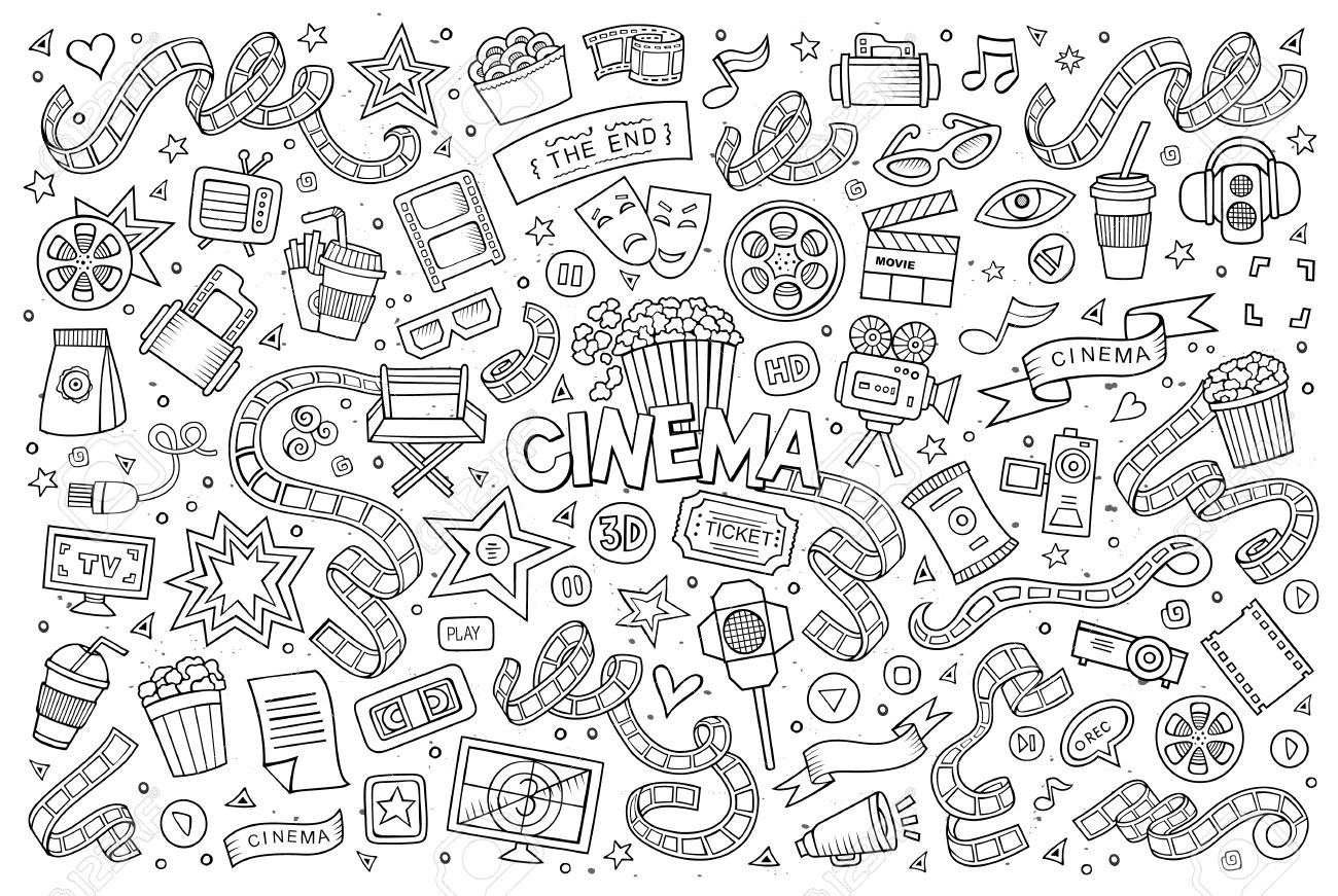 Cinema, movie, film doodles hand drawn sketchy symbols and objects - 43497084