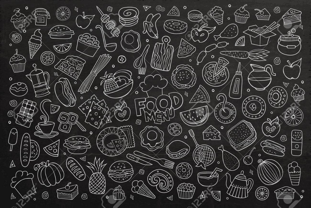 Foods doodles hand drawn chalkboard symbols and objects - 43496968