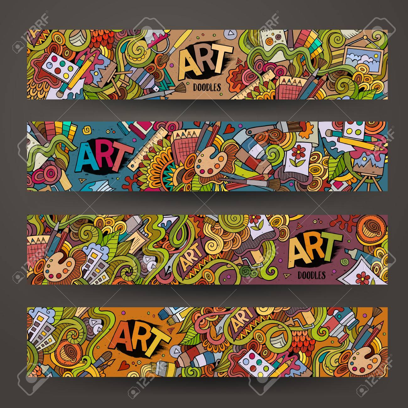 Cartoon hand-drawn Doodle on the subject of art and craft. Horizontal banners design templates set - 43496927