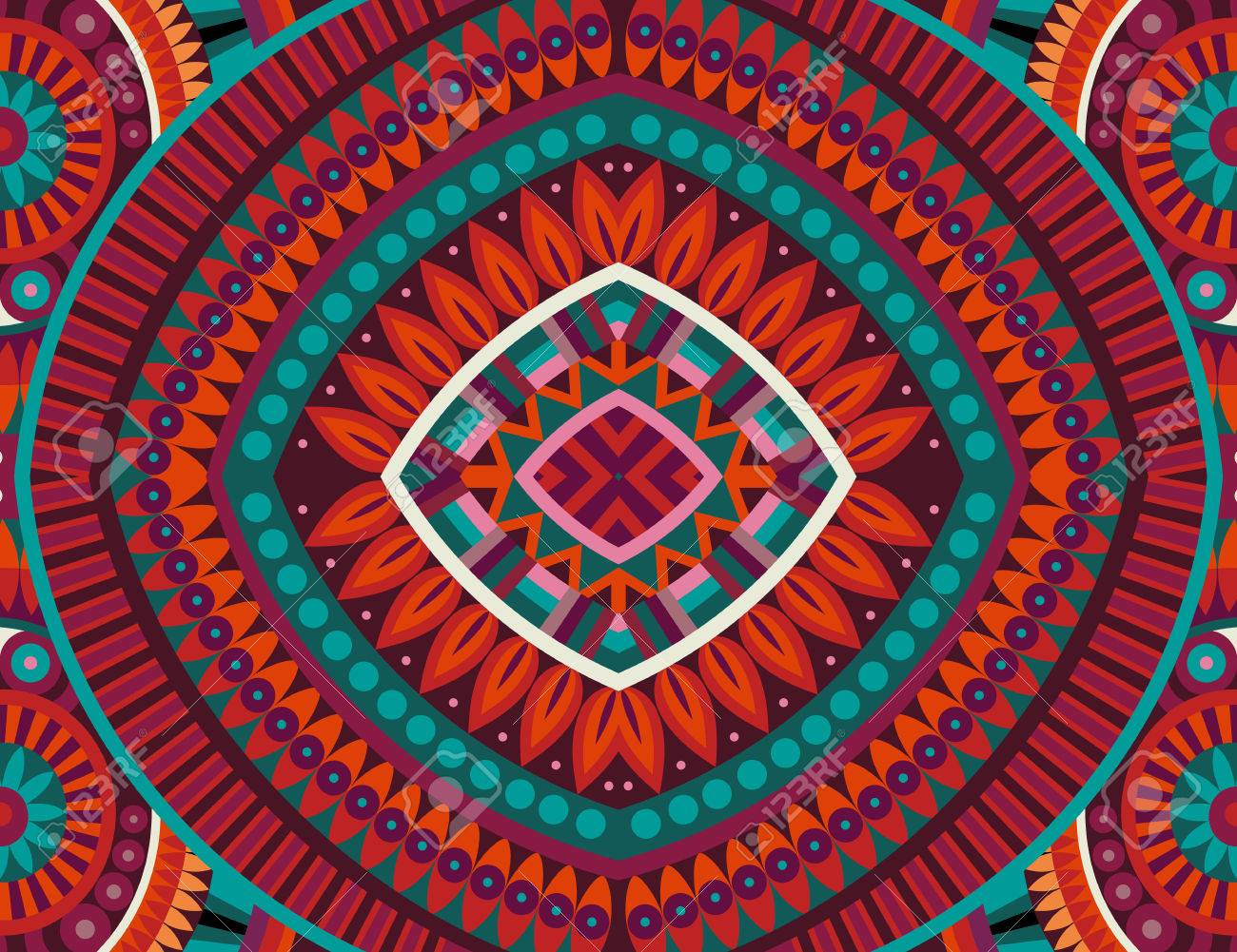 Abstract tribal ethnic background seamless pattern - 43496950