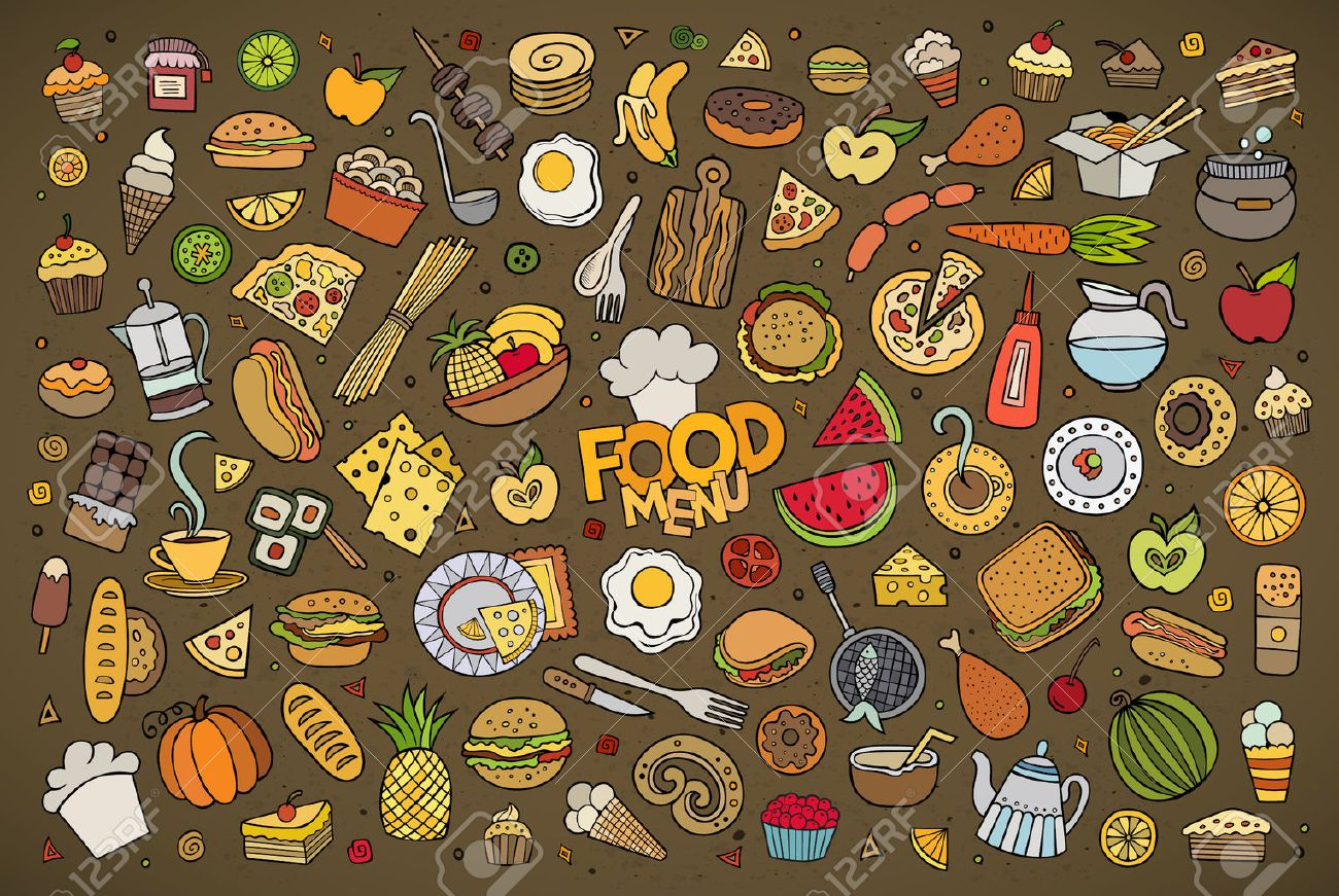 Colorful hand drawn Doodle cartoon set of objects and symbols on the food theme Stock Vector - 43496953