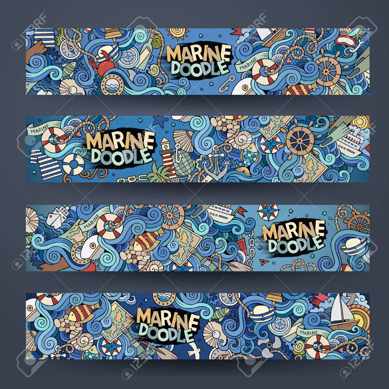 Cartoon hand-drawn Doodle on the subject of nautical marine. Horizontal banners design templates set - 43496958