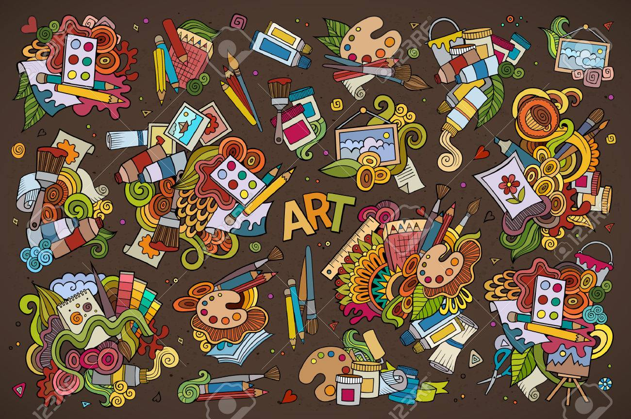 Art and paint materials doodles hand drawn colorful symbols and objects - 43496849