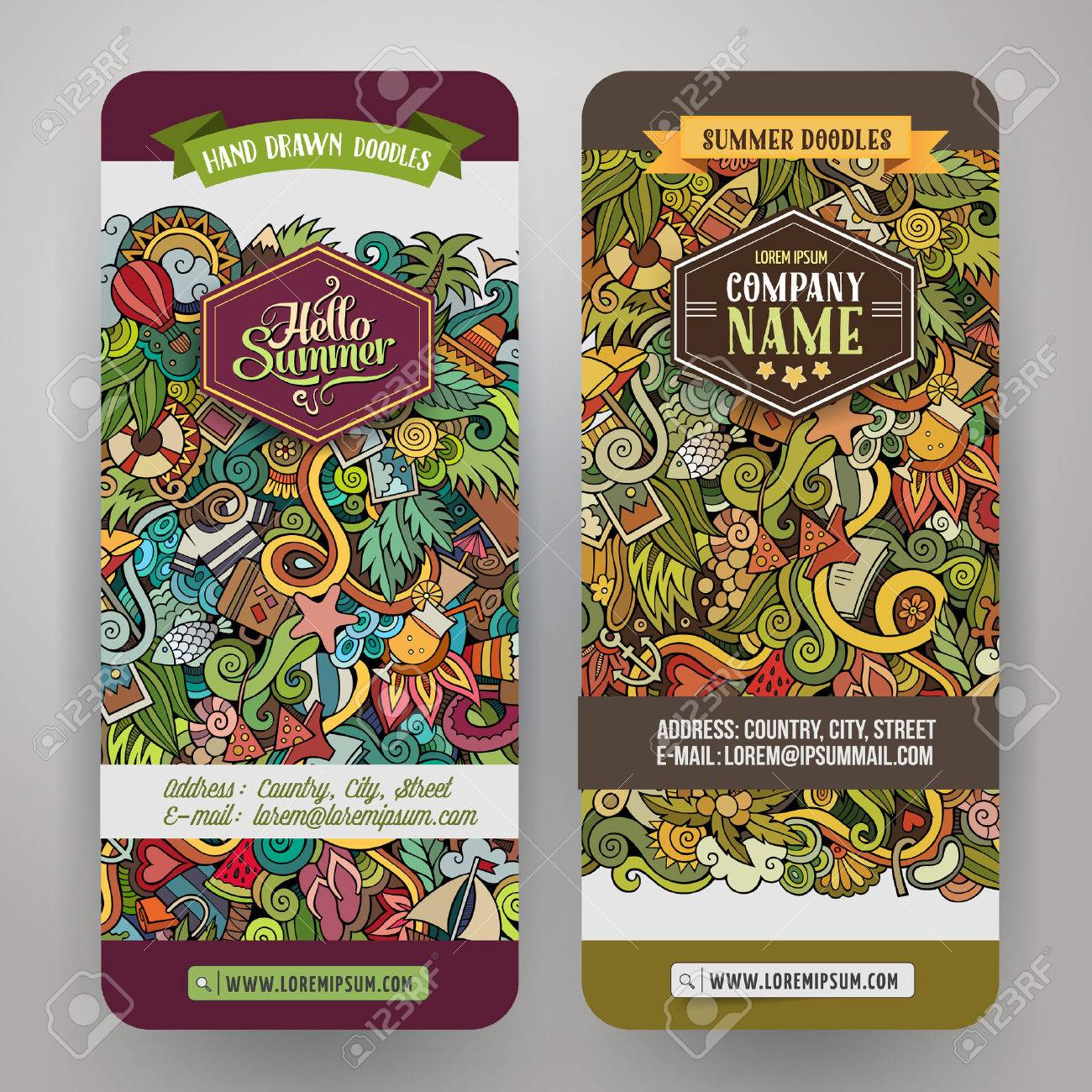 Cartoon hand-drawn Doodle on the subject of summer time. Vertical banners design templates set - 43496852