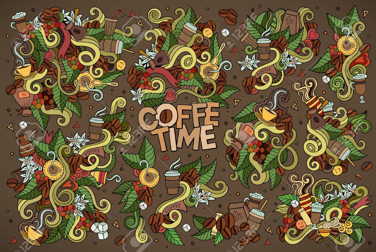 Coffee time doodles hand drawn sketchy symbols and objects - 43496858