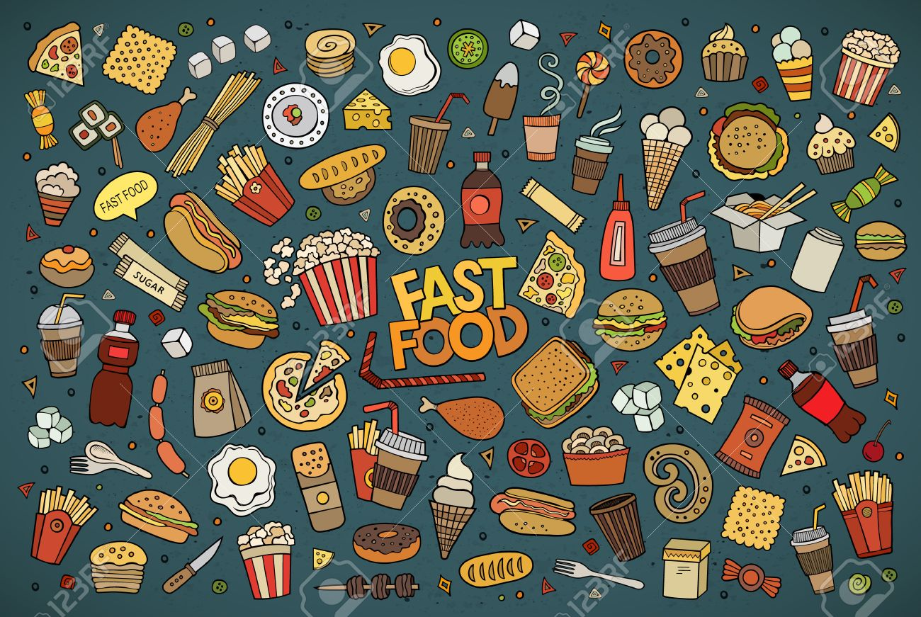 Colorful hand drawn Doodle cartoon set of objects and symbols on the fast food theme - 43496792