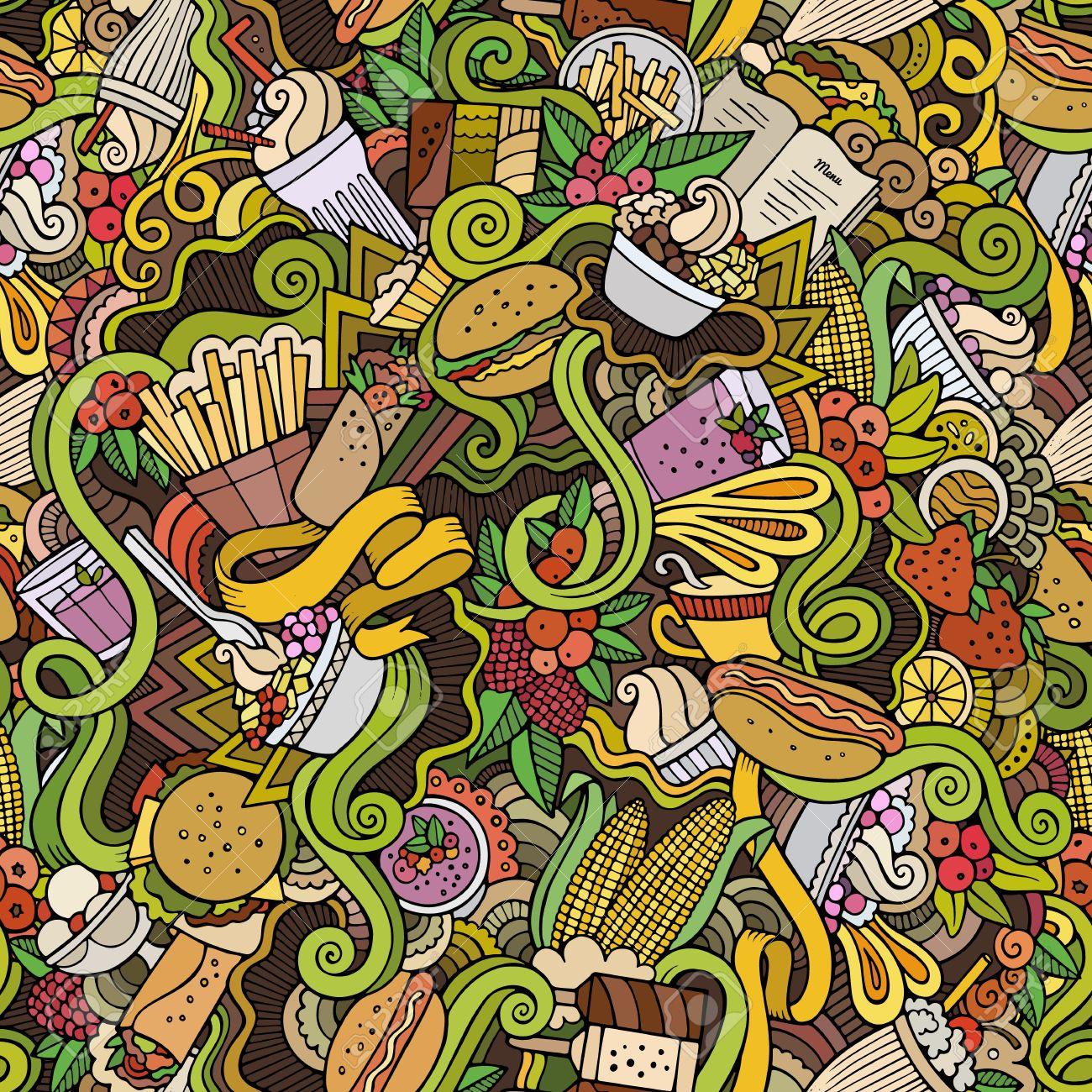 Cartoon hand-drawn Doodles on the subject of fast food and sweets seamless pattern - 43496768