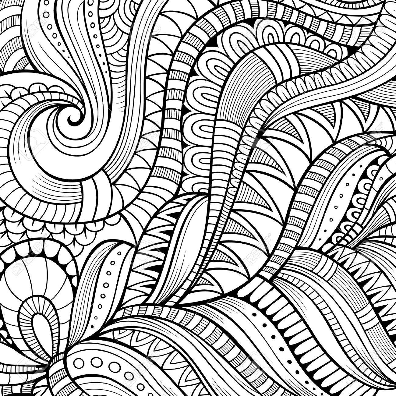 Decorative hand drawn nature ornamental ethnic vector background - 43976859
