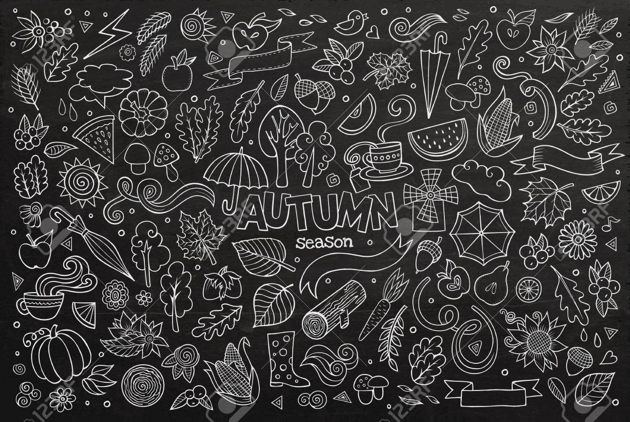 chalkboard vector hand drawn doodle cartoon set of objects and