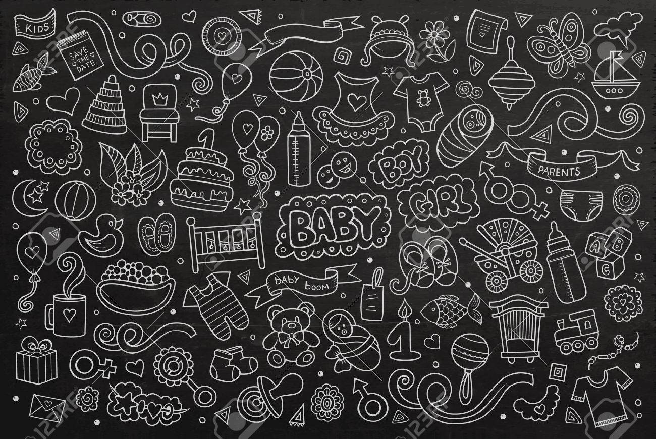 chalkboard vector hand drawn doodle cartoon set of objects and symbols on the baby theme stock