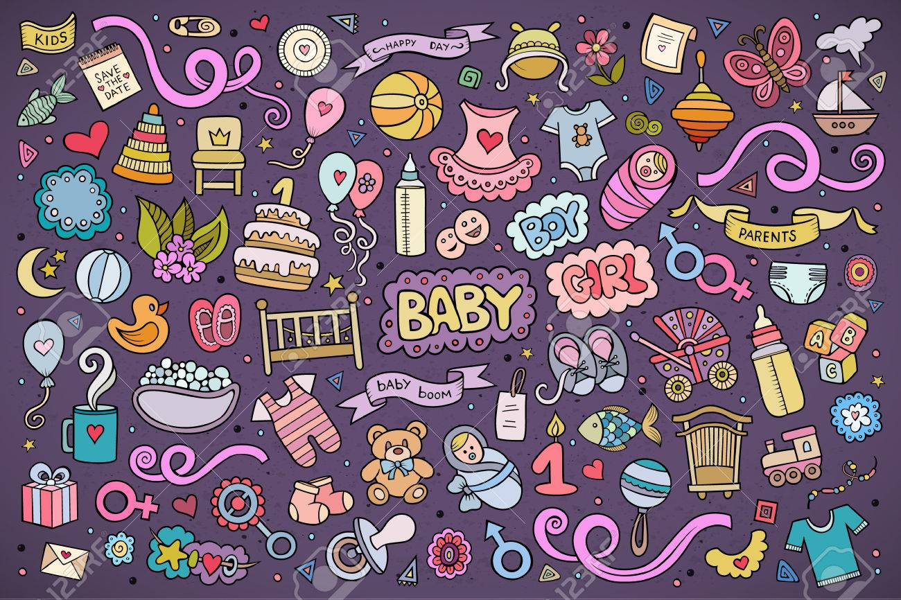 Colorful vector hand drawn Doodle cartoon set of objects and symbols on the baby theme - 44866302
