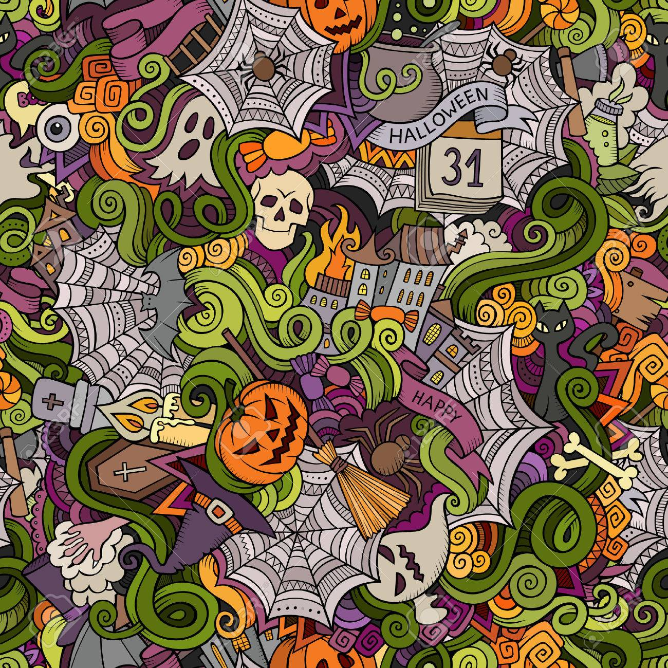 Cartoon vector hand-drawn Doodles on the subject of Halloween symbols, food and drinks seamless pattern. Colorful background - 44866604