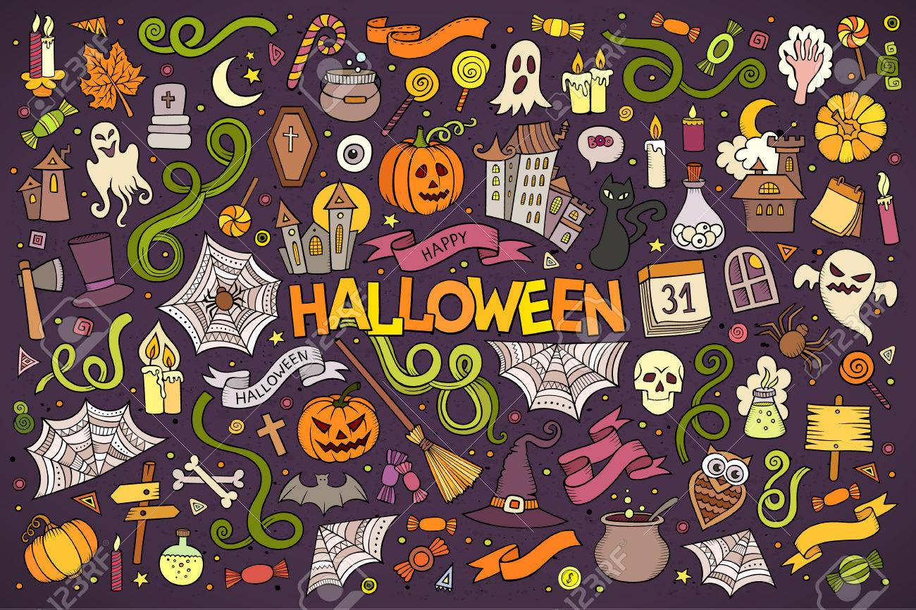 Colorful vector hand drawn Doodle cartoon set of objects and symbols on the Halloween theme - 44866608