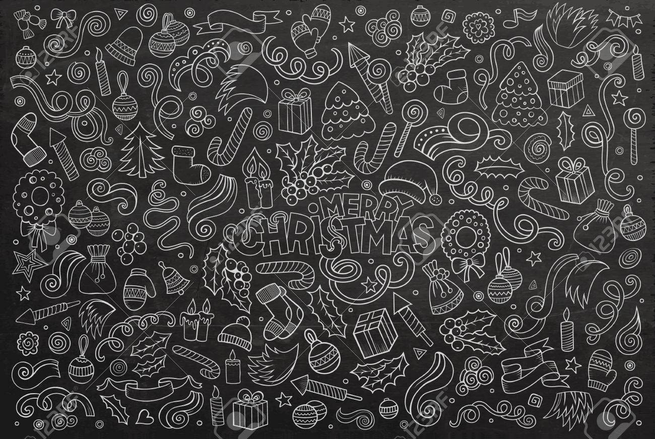 chalkboard vector hand drawn doodle cartoon set of objects and symbols on the merry christmas theme
