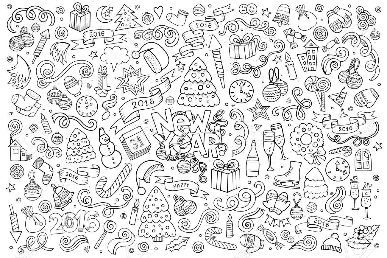 Sketchy vector hand drawn Doodle cartoon set of objects and symbols on the New Year theme - 48109362