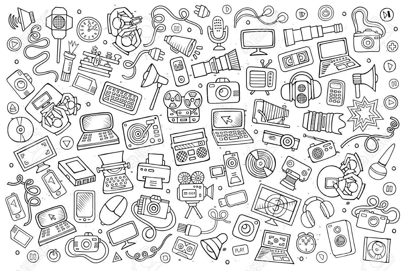 Sketchy vector hand drawn Doodle cartoon set of equipment and devices objects and symbols - 48109509