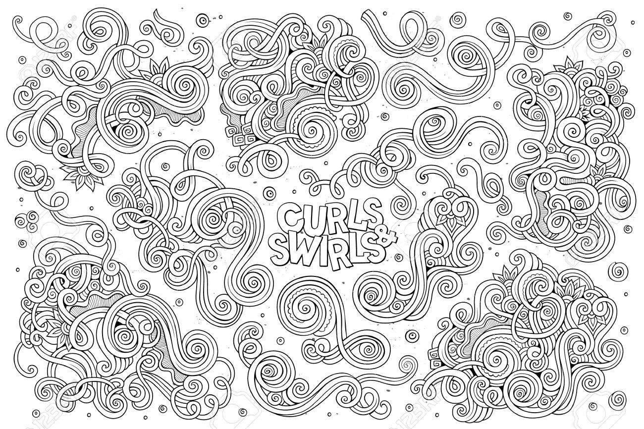 Line art vector hand drawn Doodle cartoon set of curls and swirls decorative elements - 48109516