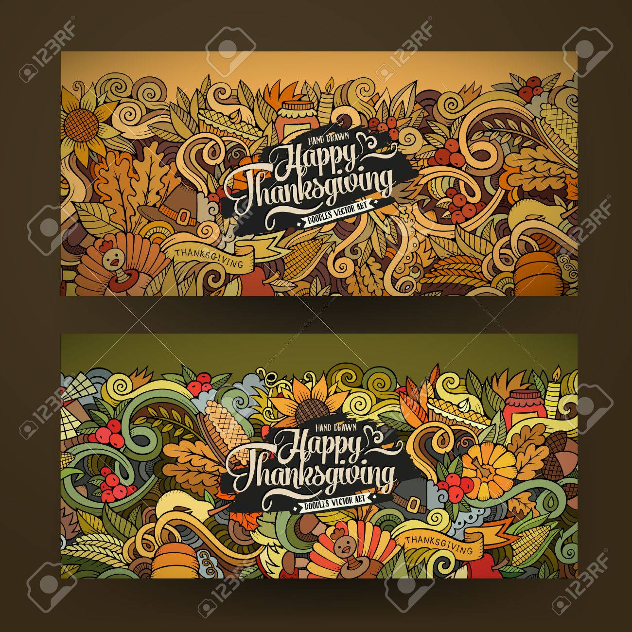 Cartoon vector hand-drawn Doodle Happy Thanksgiving Day cards. Horizontal banners design templates set - 48109725