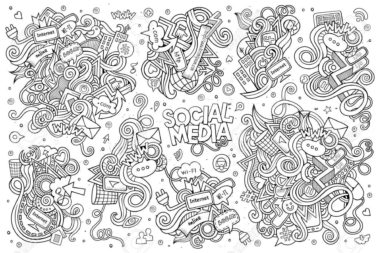 Sketchy vector hand drawn Doodle cartoon set of objects and symbols on the Social Media theme - 48120410