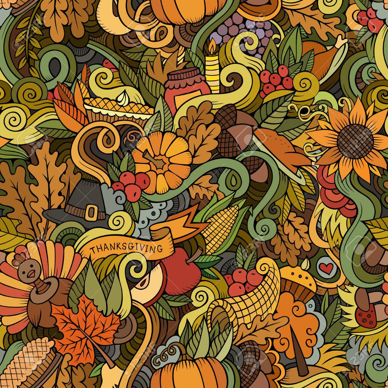 Cartoon vector hand-drawn Doodles on the subject of Thanksgiving autumn symbols, food and drinks seamless pattern. Color background - 48120810