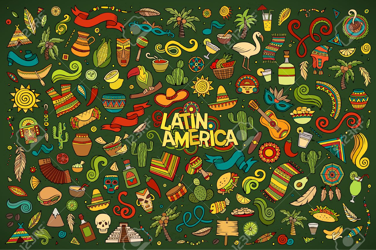 Sketchy vector hand drawn Doodle cartoon set of objects and symbols on the Latin America theme - 48120815