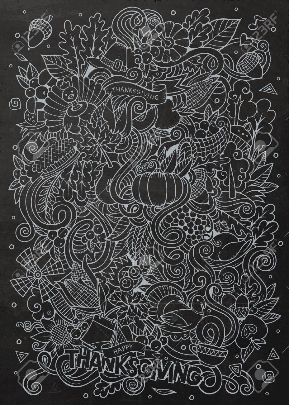 cartoon vector hand drawn doodle thanksgiving chalkboard design