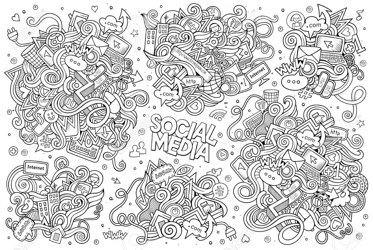 Sketchy vector hand drawn Doodle cartoon set of objects and symbols on the Social Media theme - 48231351