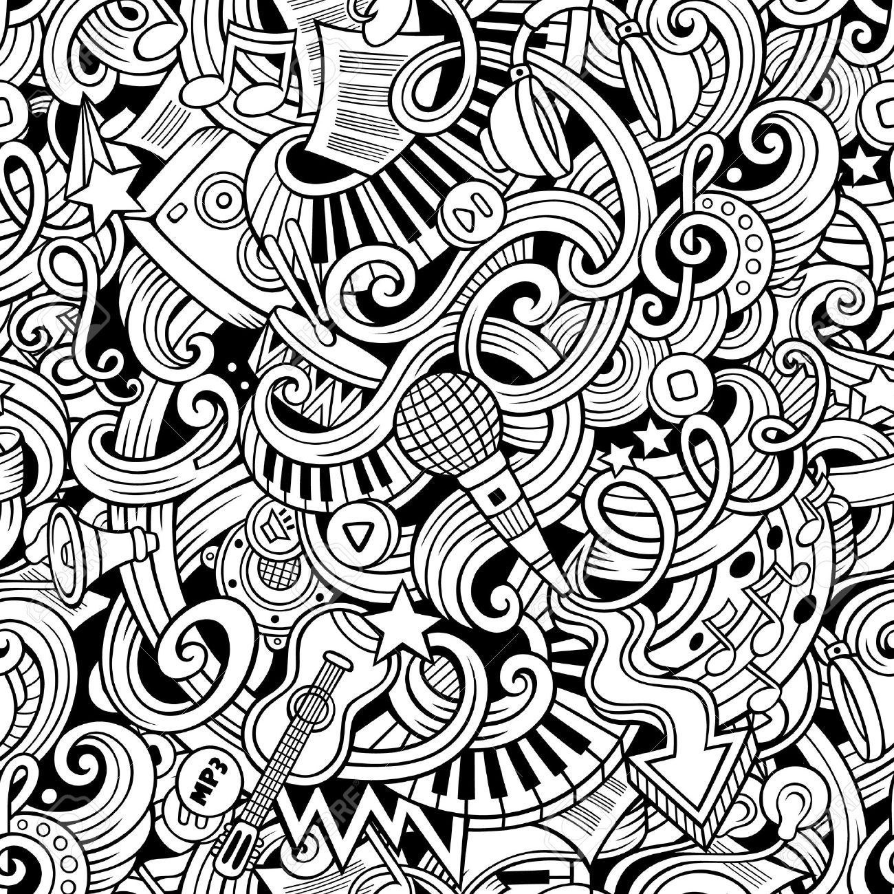 Cartoon hand-drawn doodles on the subject of music style theme seamless pattern. Vector line art background - 48486061