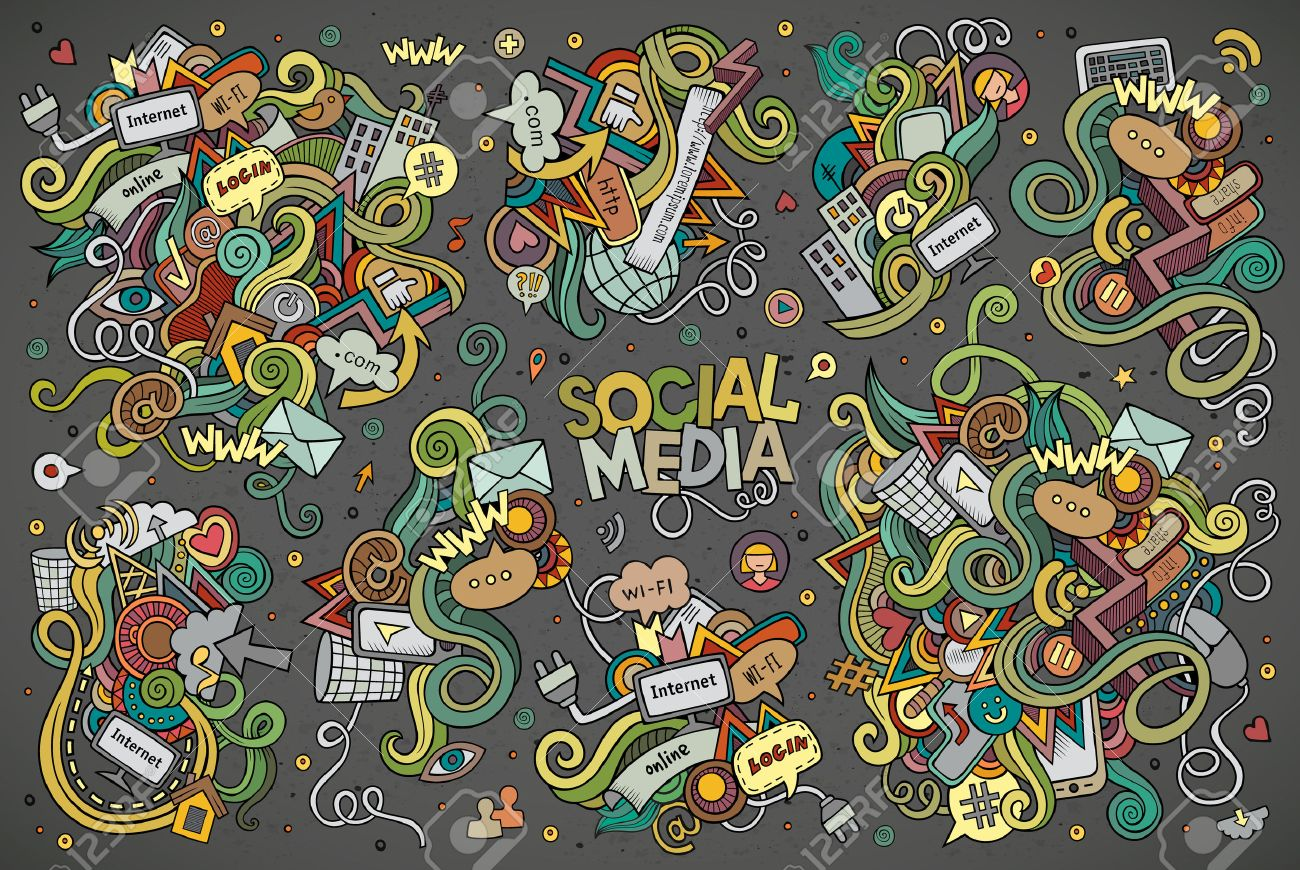 hand drawn Doodle cartoon set of objects and symbols on the Social Media theme - 48998152