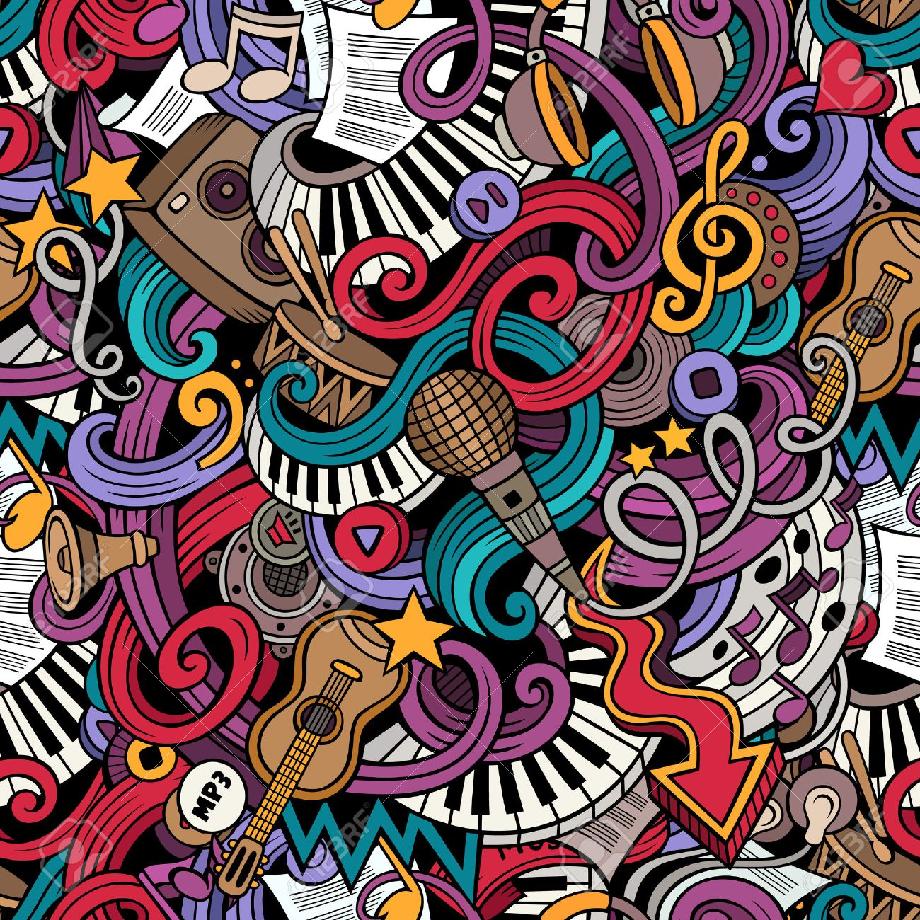 Cartoon doodles on the subject of music style theme seamless pattern. Vector color background - 49148457