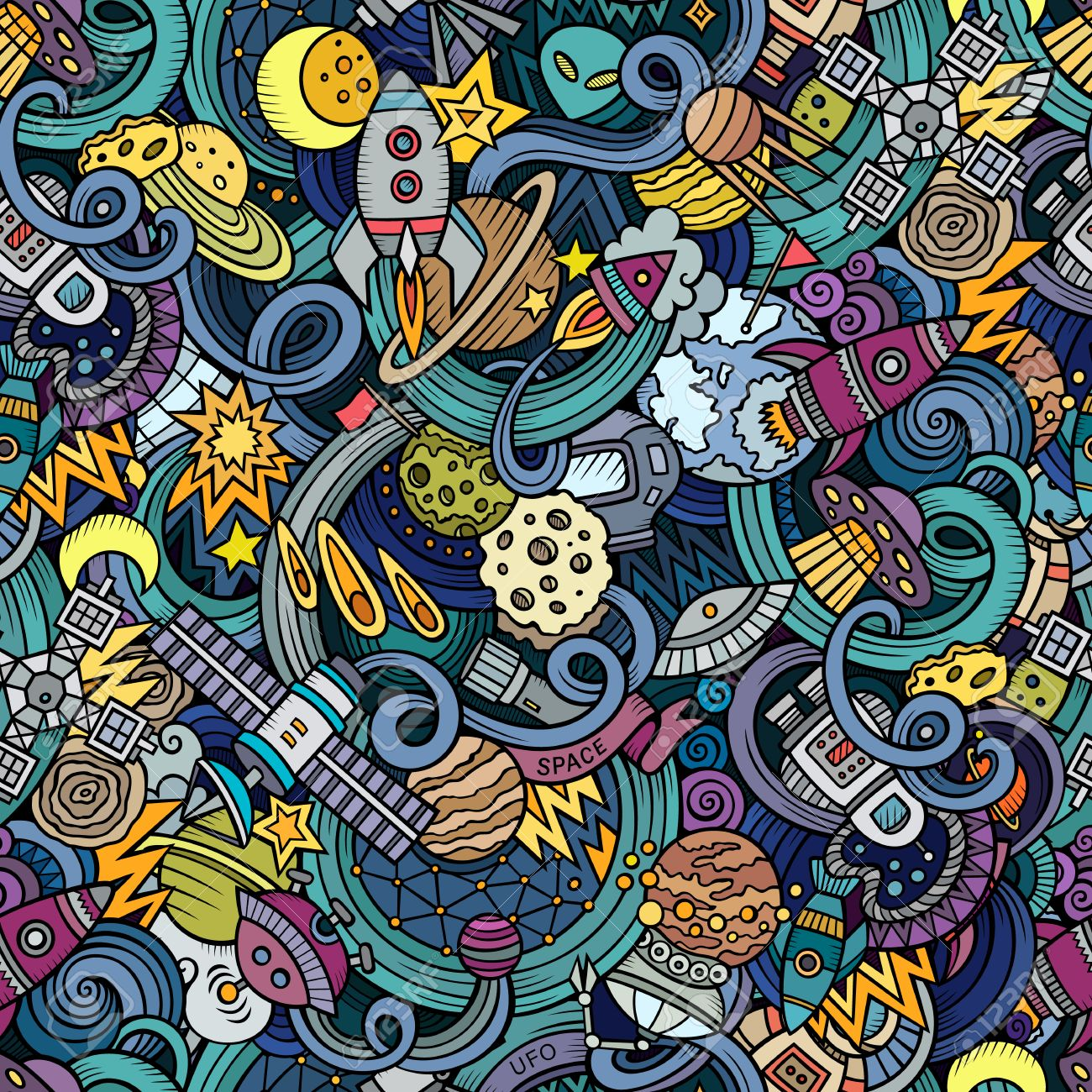 Cartoon doodles on the subject of space style theme seamless pattern. background - 49148475
