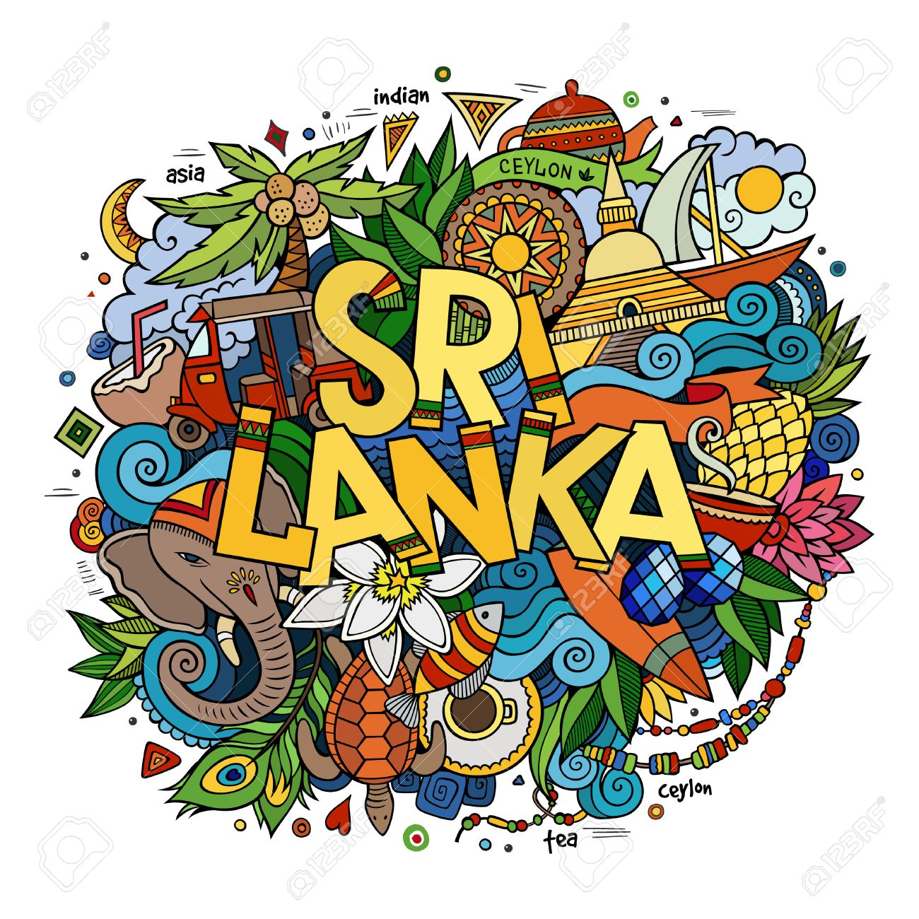 Sri Lanka hand lettering and doodles elements and symbols background. Vector hand drawn colorful illustration - 49421414