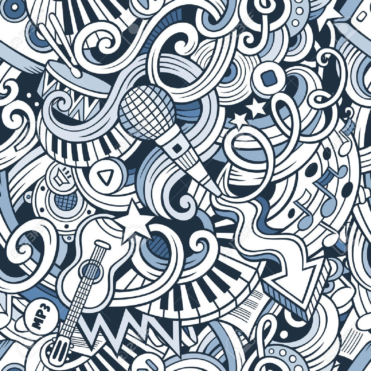 Cartoon hand-drawn doodles on the subject of music style theme seamless pattern. Vector line art background - 49421455
