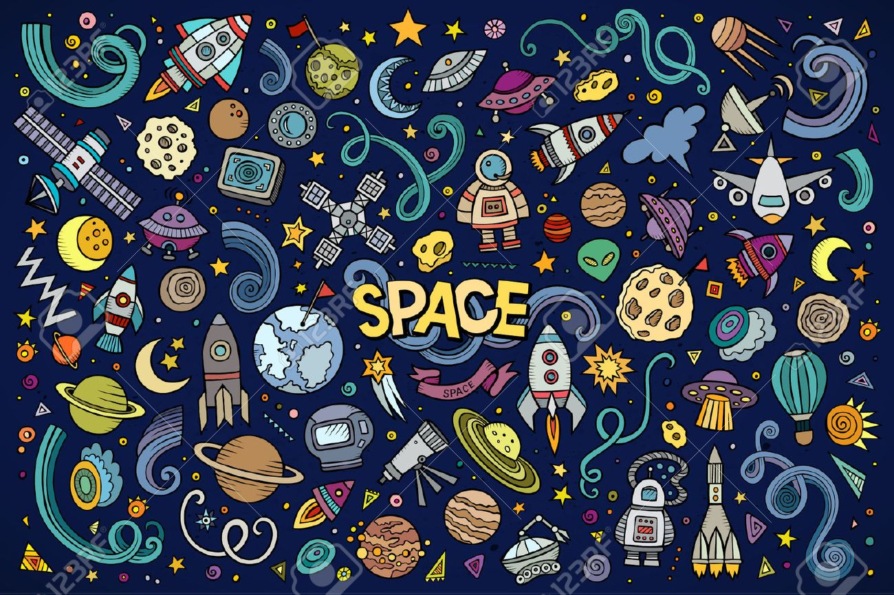 Colorful vector hand drawn doodles cartoon set of Space objects and symbols - 50244861