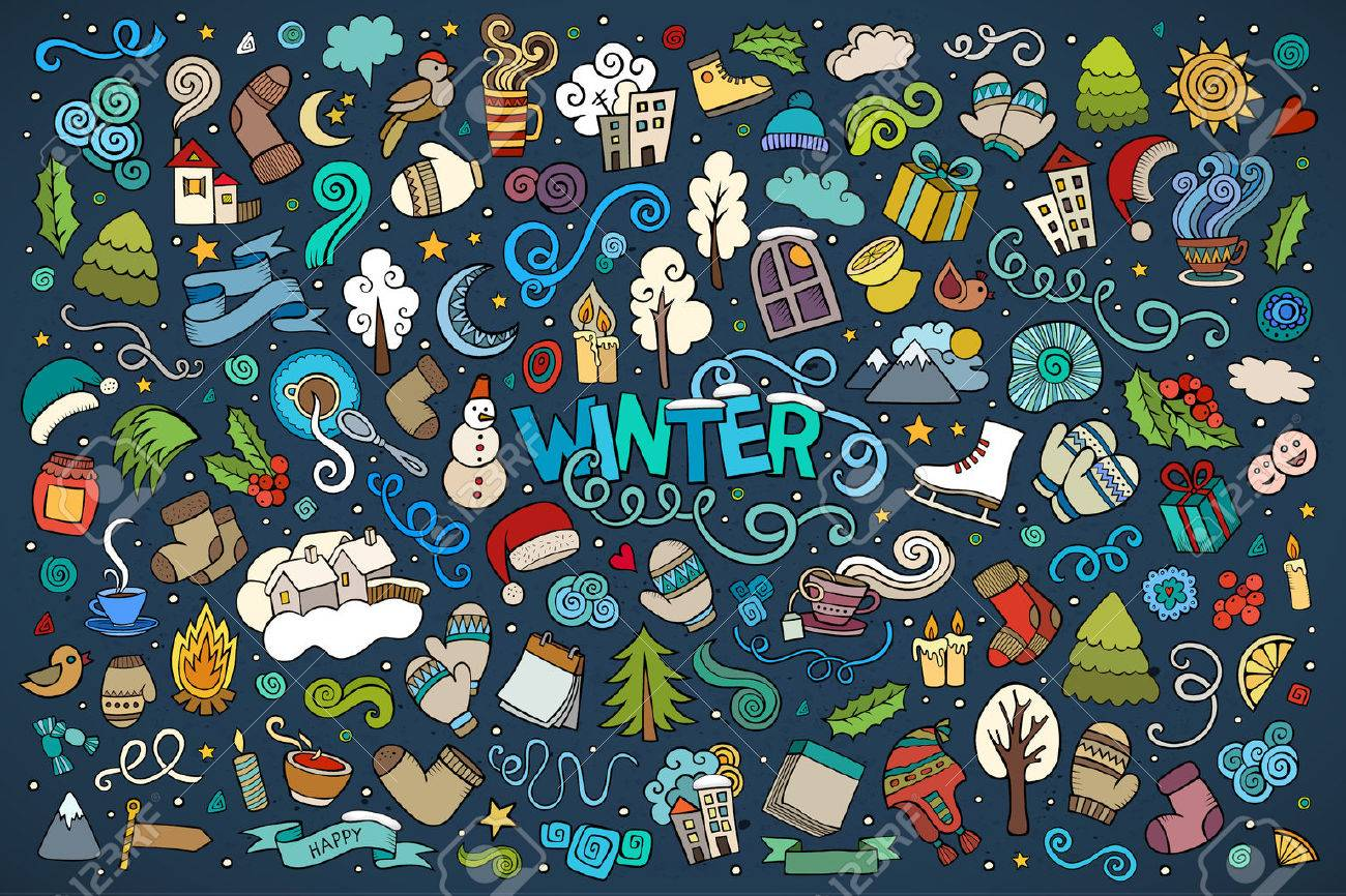 Colorful vector hand drawn doodles cartoon set of Winter objects and symbols - 50244874