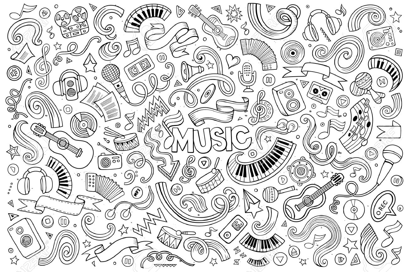 Sketchy vector hand drawn doodles cartoon set of Music objects and symbols - 50368528